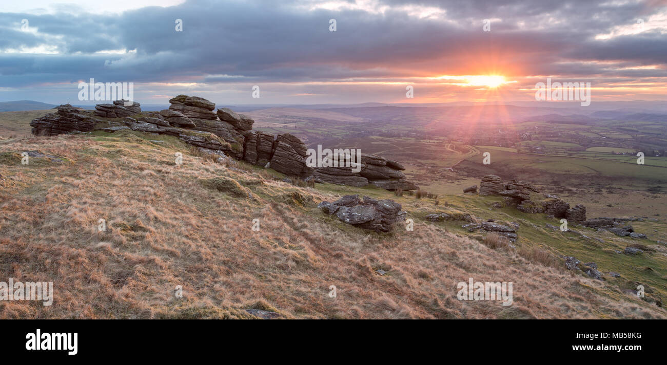 Sunset from Arms tor Dartmoor national park Devon Uk - Stock Image