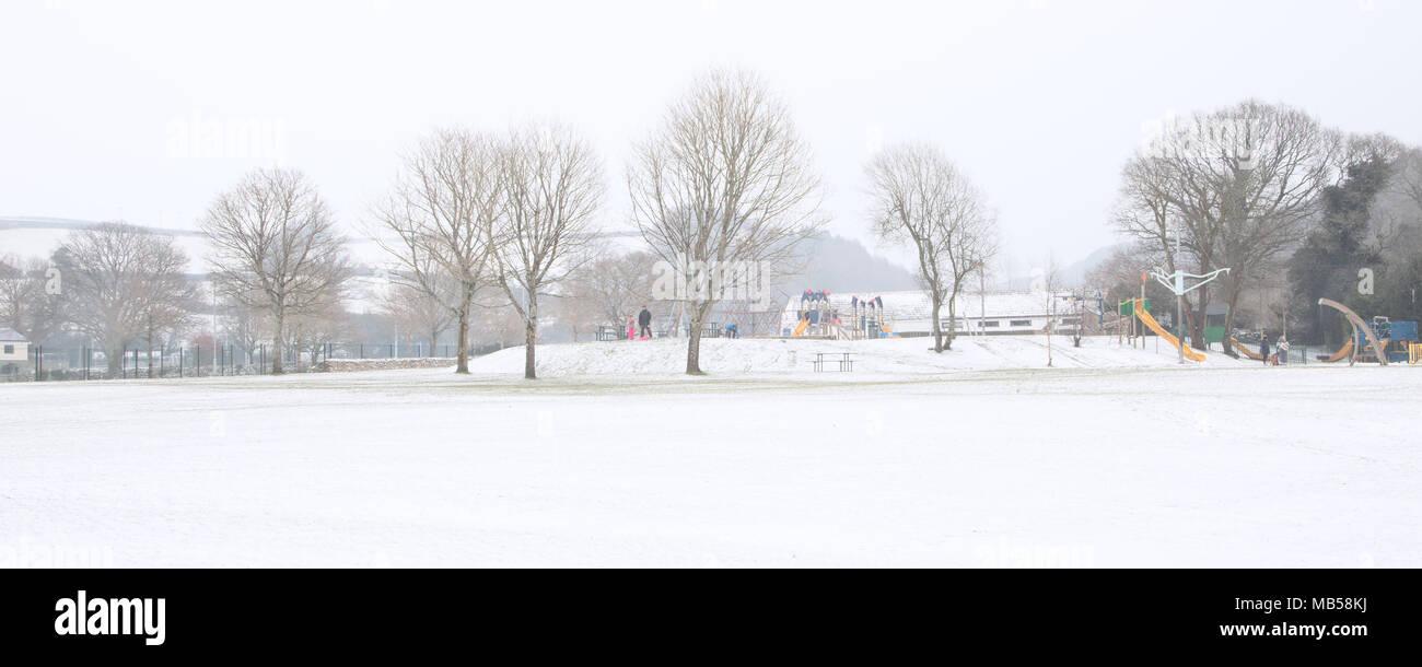 Simmons Park in winter Okehampton Devon UK - Stock Image