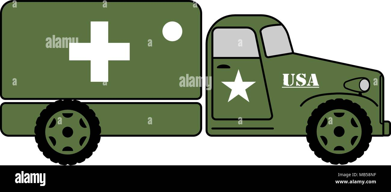 Vintage army medical truck flat illustration on white - Stock Vector