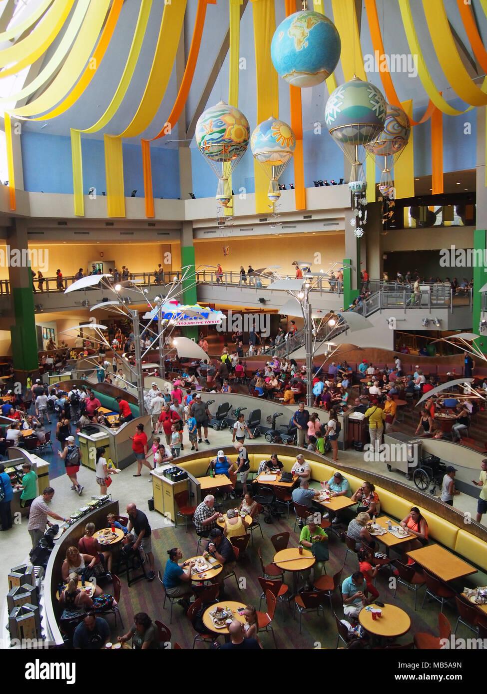 View of the The Land Pavilion Food Court at Epcot Center, World Disney World, Orlando, Florida 2017 © Katharine Andriotis - Stock Image