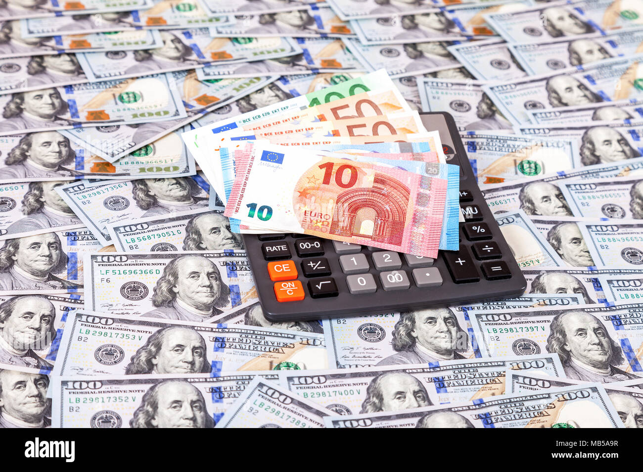Euro Banknotes And Calculator On Dollars Background