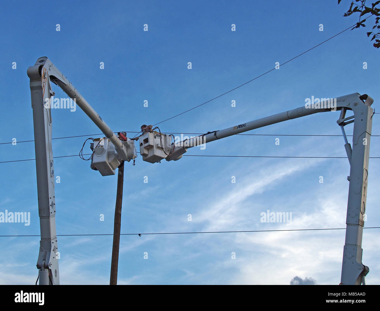 Emergency workers repairing damaged electrical wire which caused a power outtage, Orlando, Florida © Katharine Andriotis Stock Photo