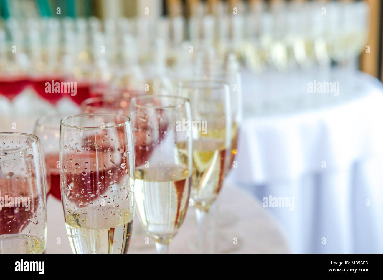 Catering bar for celebration. Beauty of interior for wedding day. Champagne in the glases on the round table - Stock Image