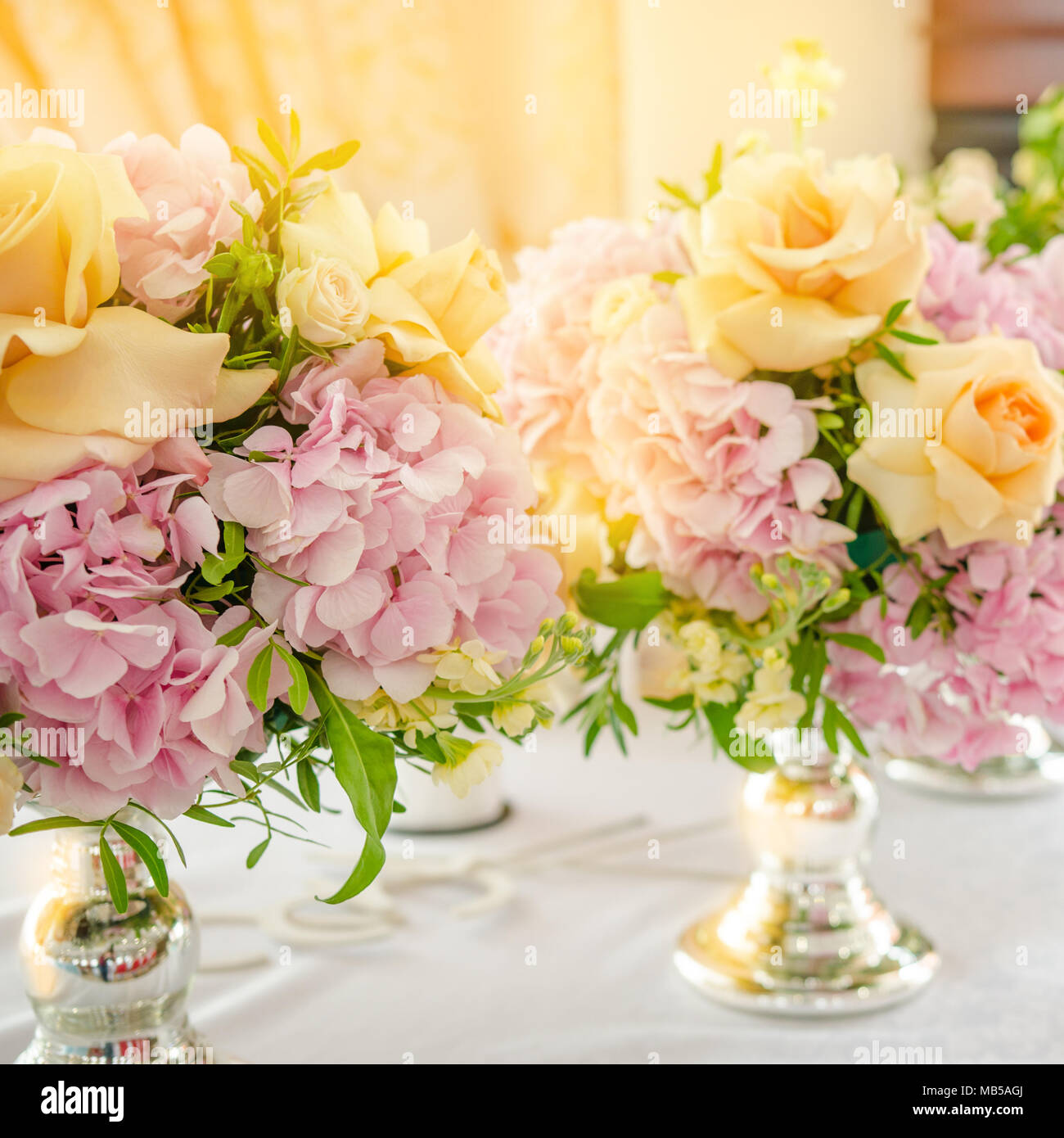 Still Life With A Wedding Bouquet Of Flowers Pink Hydrangeas And Yellow Rose On Table Close Up Stock Photo Alamy