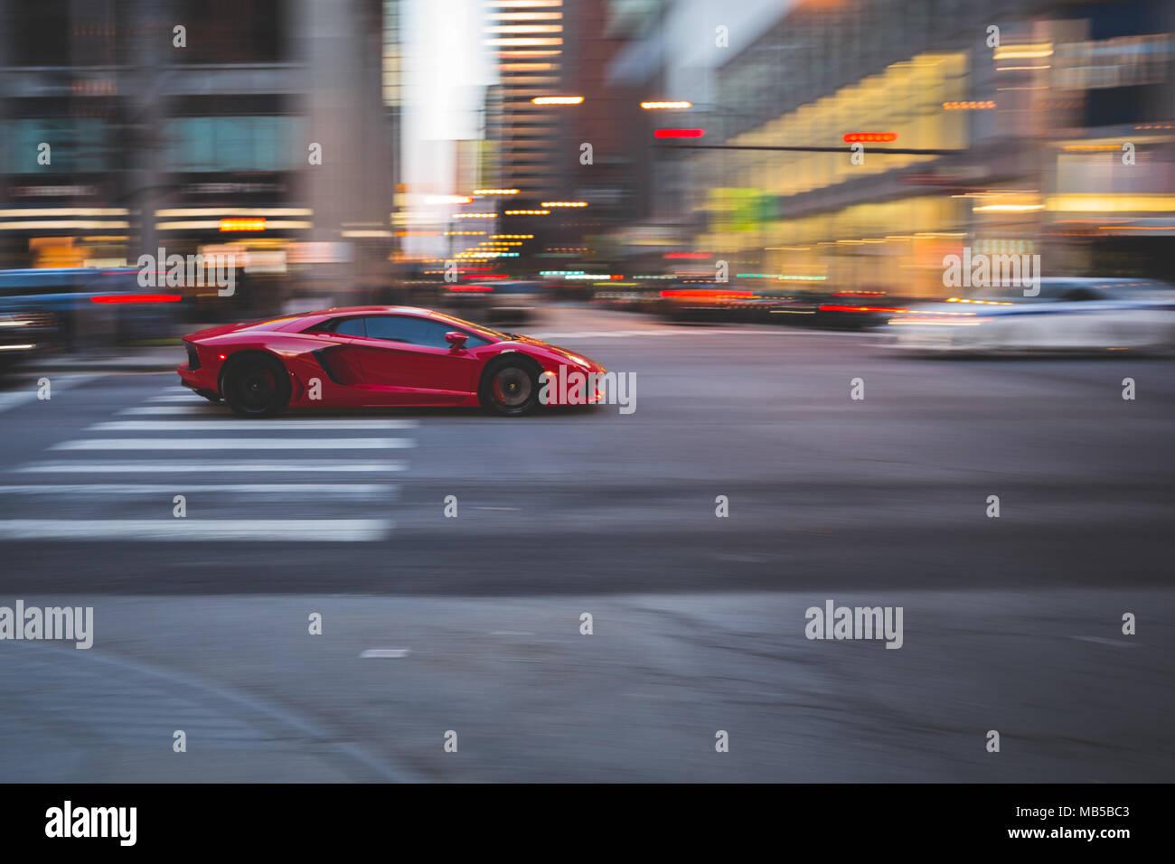 Lamborghini Aventador In Motion Driving On Michigan Avenue