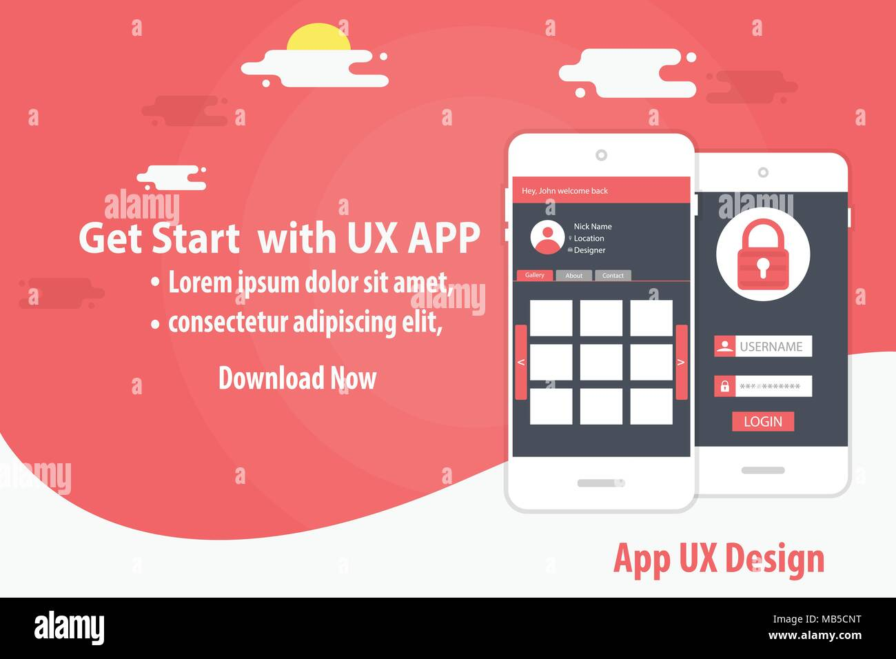 mobile aap UX landing page template - Stock Image