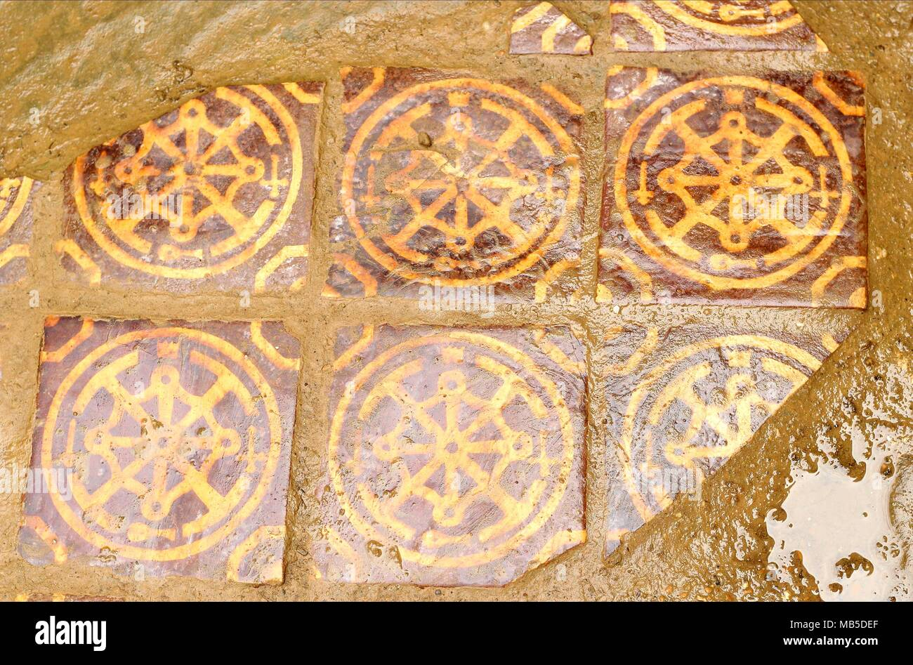 Late Medieval Style Inlay Floor Tiles - Art & Design feature - Stock Image