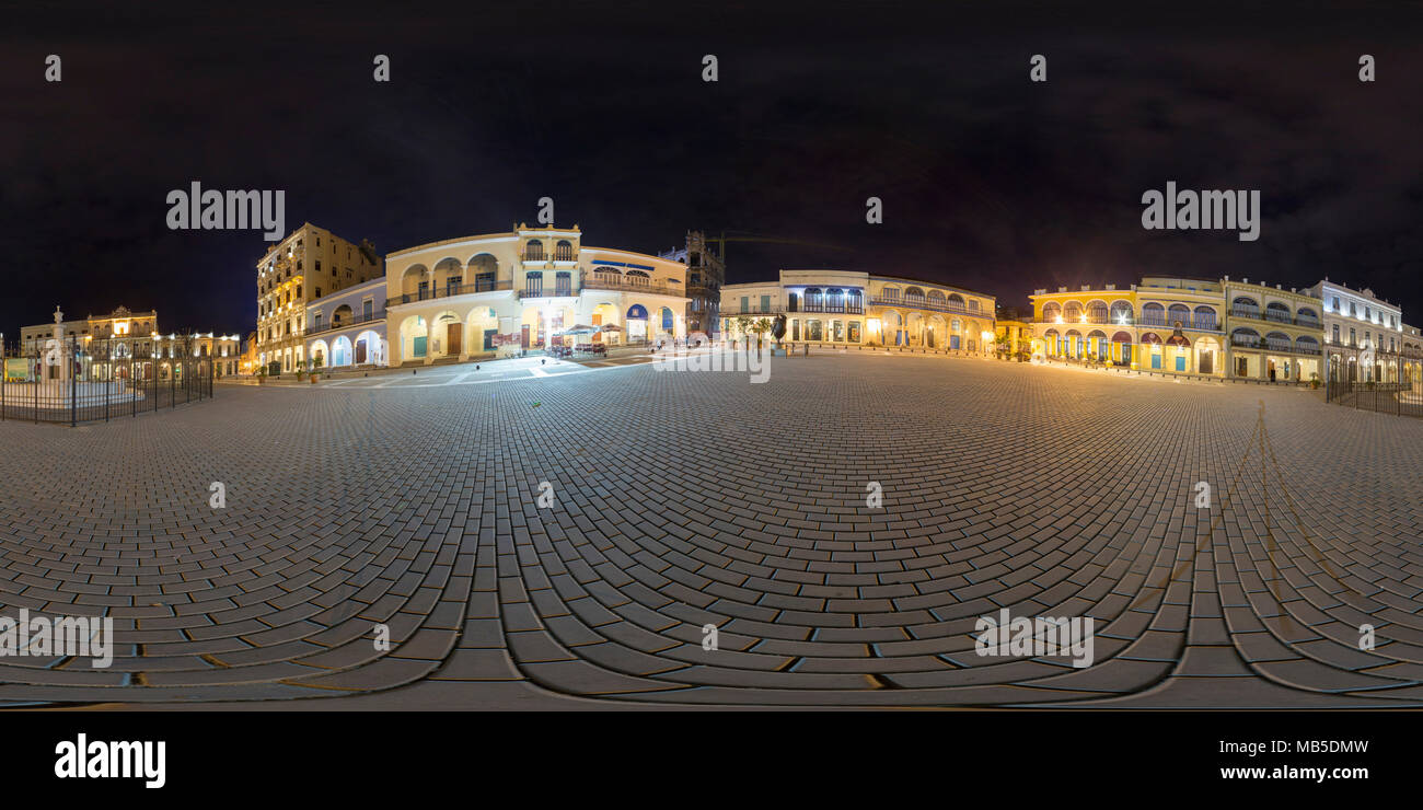 360 Stitched Panorama, long exposure in the night, Old Town Square, Havana, Cuba - Stock Image