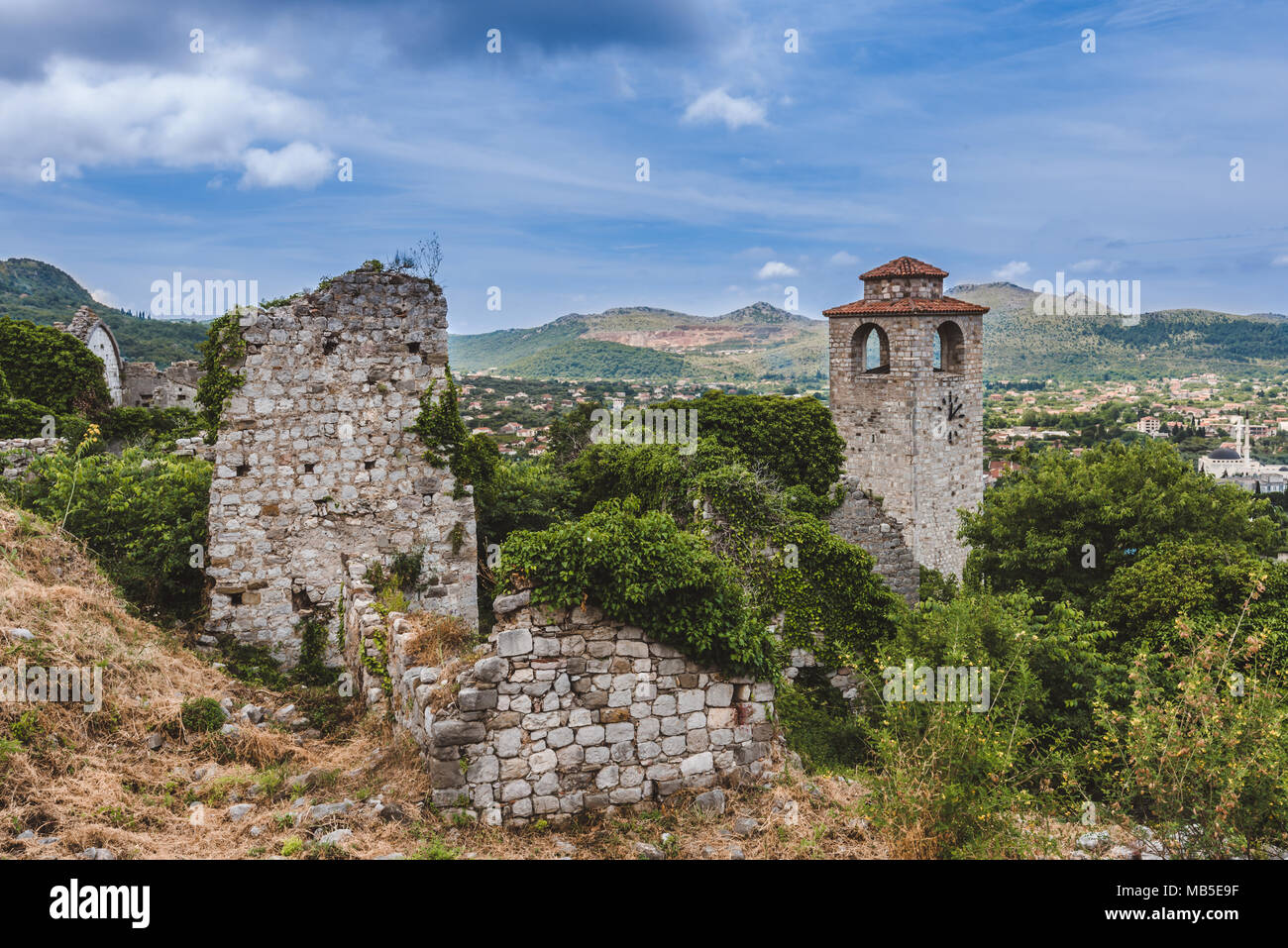 Old Bar Ruined Town in Montenegro - Stock Image