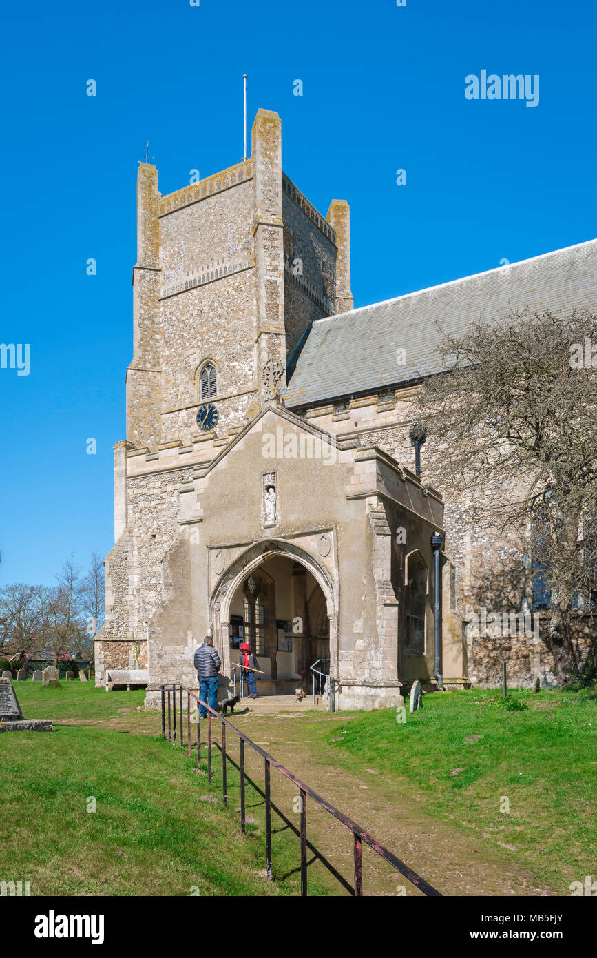 Orford church, view of the tower and porch of the medieval parish church of St Bartholomew's in the Suffolk town of Orford, East Anglia, UK. - Stock Image