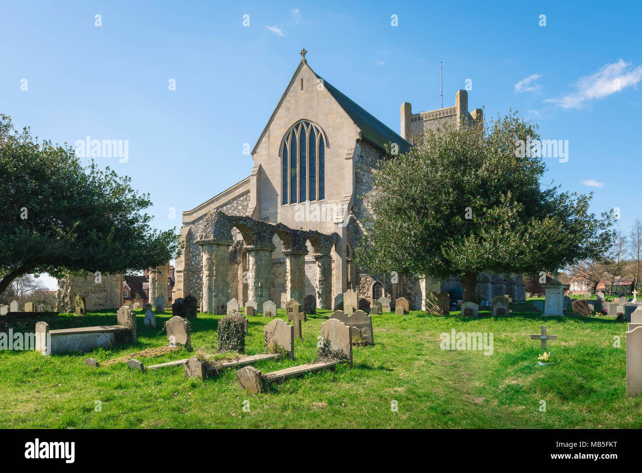 Suffolk church, view of the east end of St Bartholomew's Church in the Suffolk town of Orford, East Anglia, UK. - Stock Image
