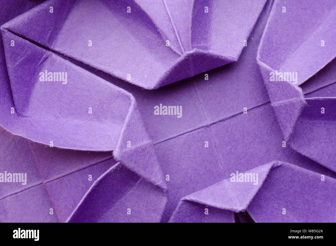 Abstract Closeup Of A Purple Paper Origami Flower Stock Photo