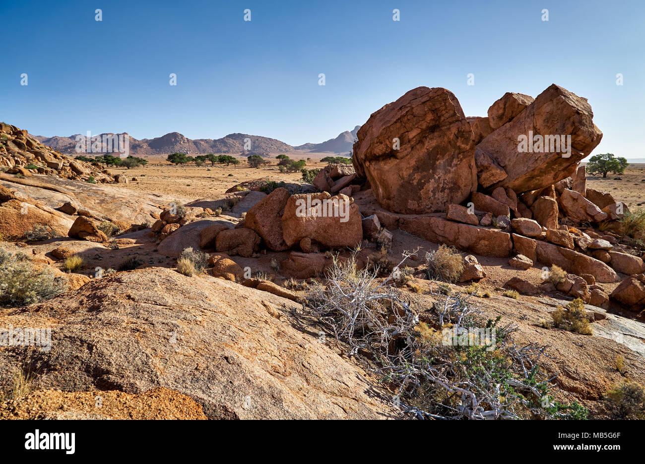 landscape on Farm Namtib, Tiras mountains, Namibia, Africa - Stock Image