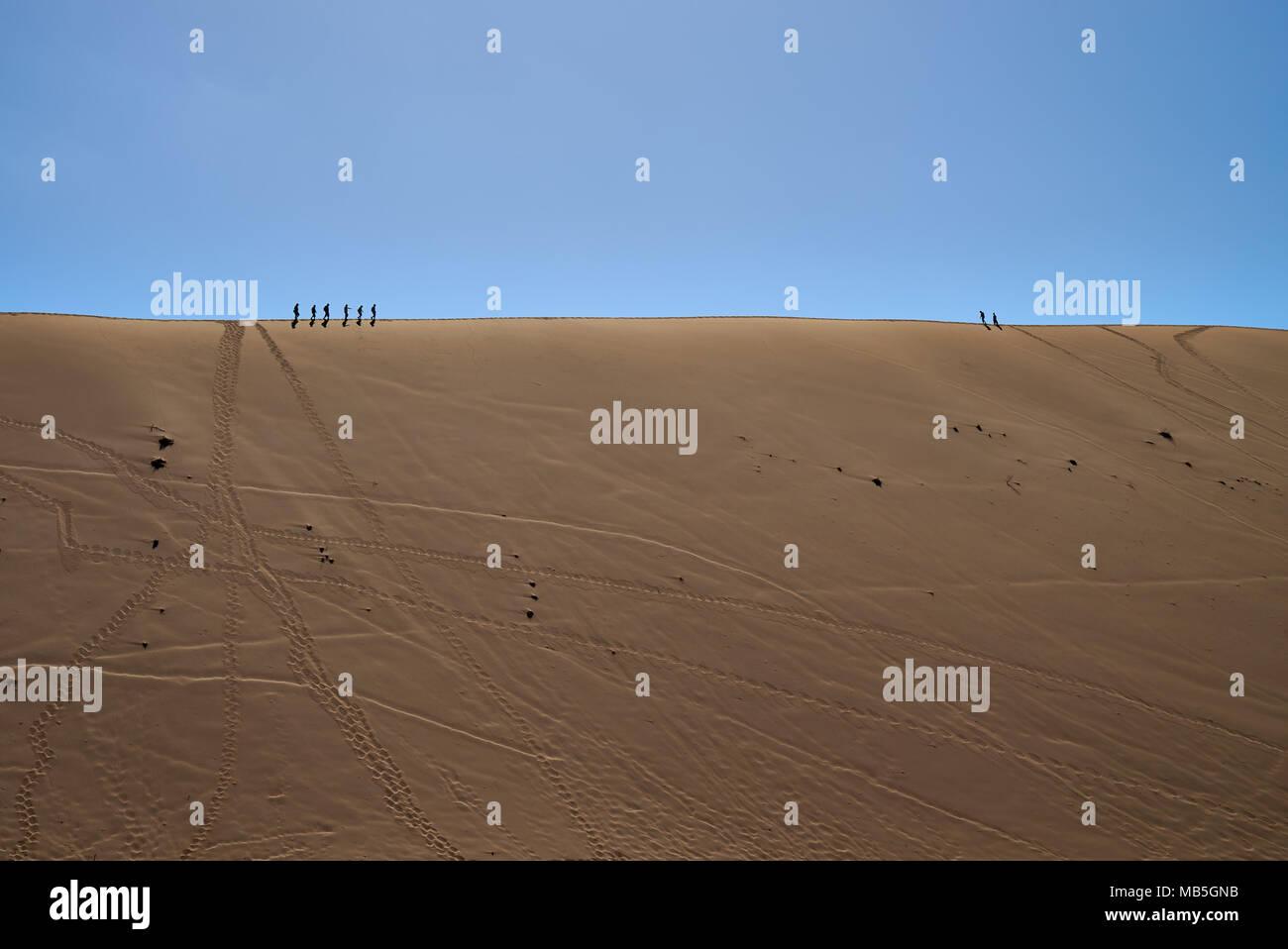tourist walking on dune crest in desert landscape of Namib at Dead Vlei, Namib-Naukluft National Park, Namibia, Africa - Stock Image