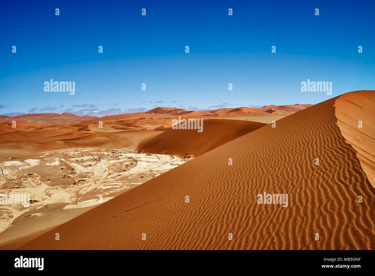desert landscape of Namib with Dead Vlei, Namib-Naukluft National Park, Namibia, Africa - Stock Image