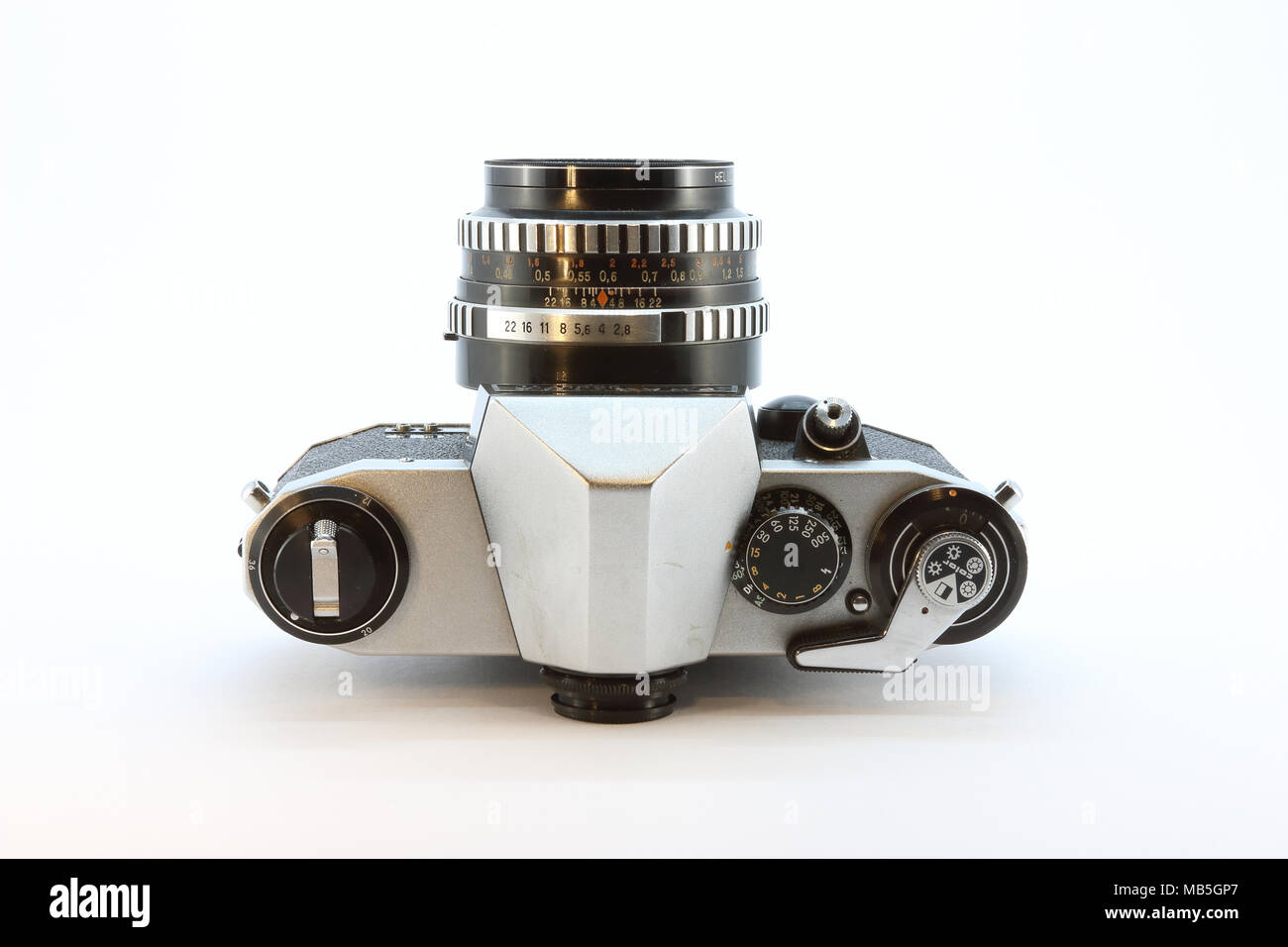 Praktica film camera on white background - Stock Image