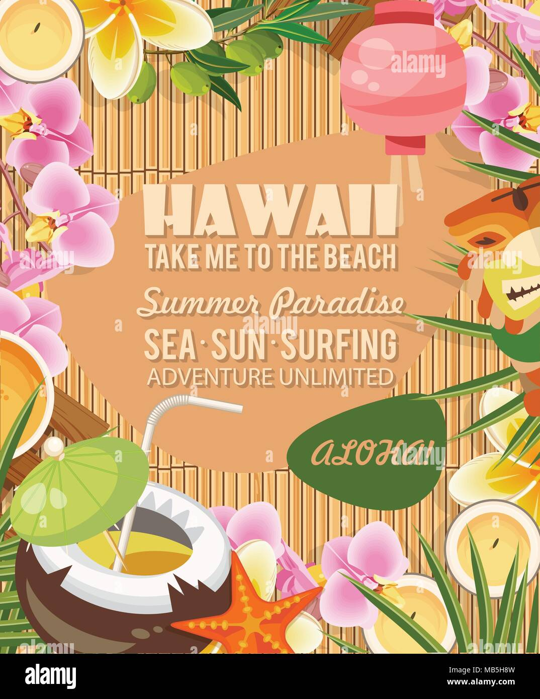 hawaii vector travel illustration with colorful background summer