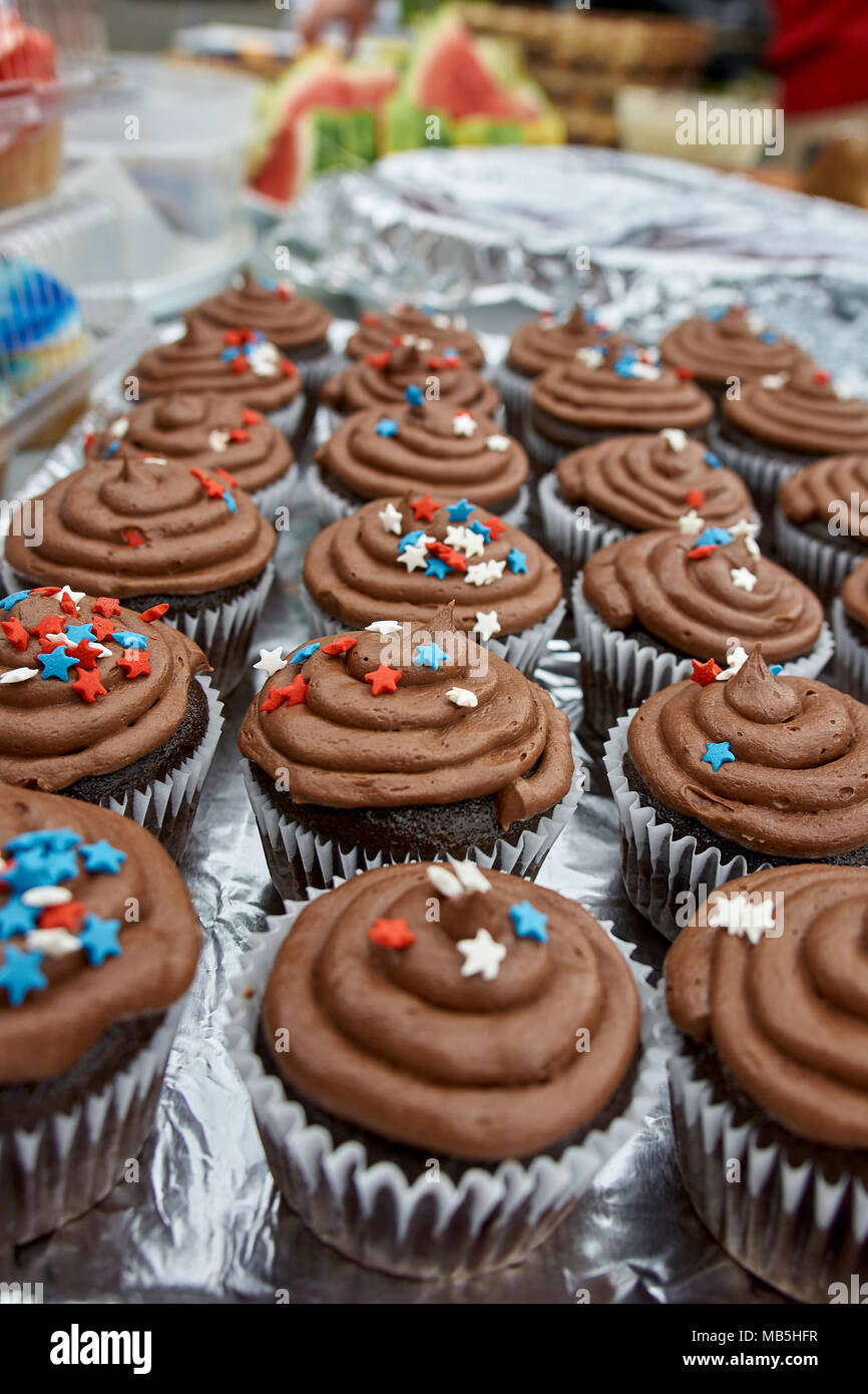 american independance day cupcakes - Stock Image