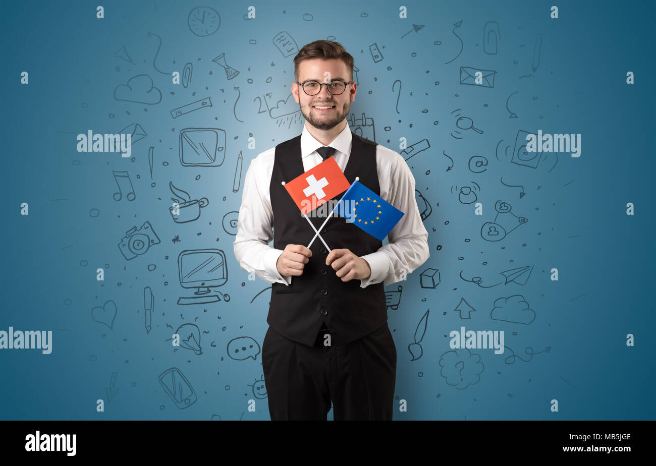 Businessman with office symbol concept and little flag on his hand  - Stock Image