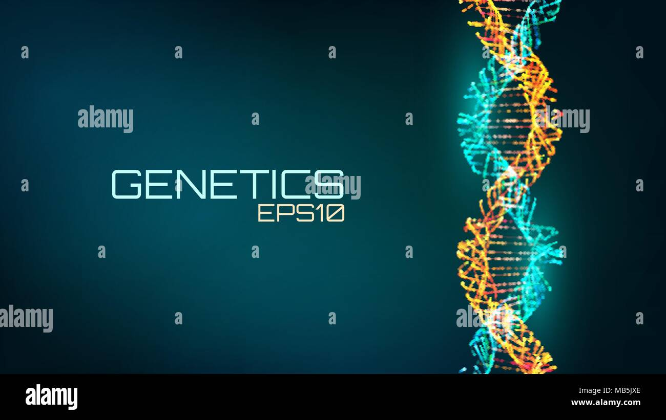 Abstract fututristic dna helix structure. Genetics biology science background. Future medical technology. - Stock Image