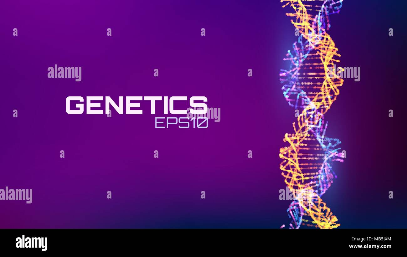 Abstract fututristic dna helix structure. Genetics biology science background. Future dna technology. - Stock Image