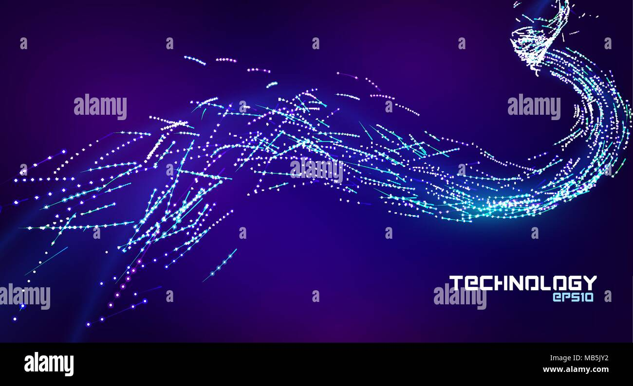 Particle flow stream. Line art. Abstract data stream illustration. Particle flow abstract background. Energy blue and violet wave. - Stock Image