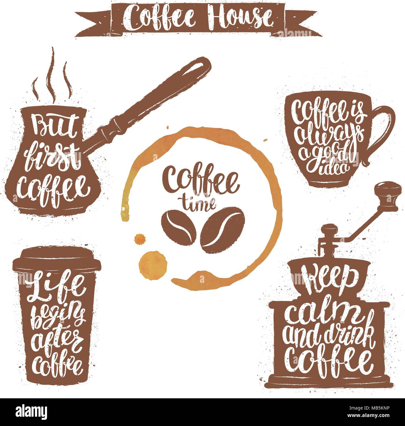 coffee lettering in cup grinder pot shapes and cup stain modern
