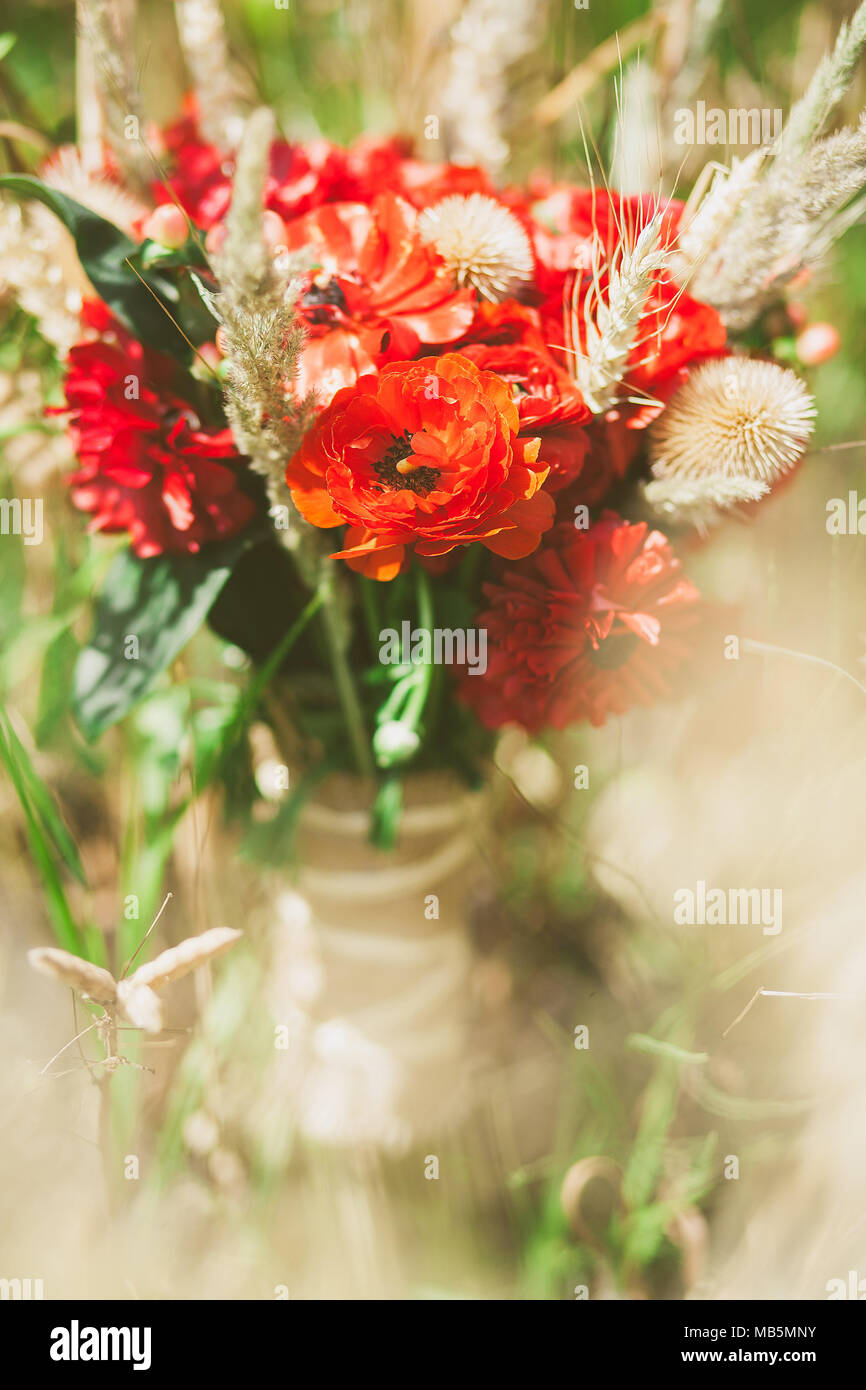Beautiful Bouquet Of Fresh And Dry Flowers Made In Rustic Style Closeup View Red