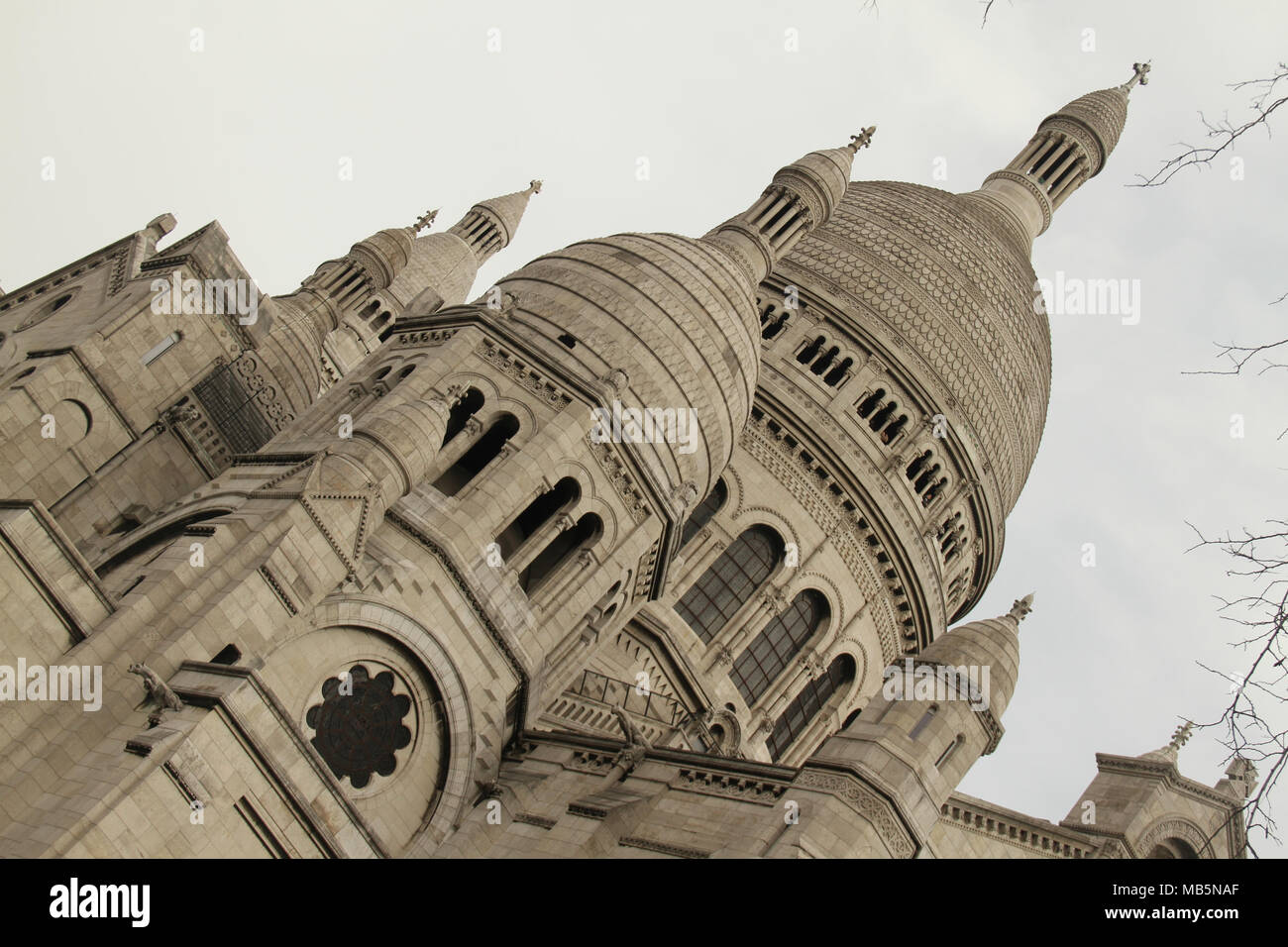 Paris, France -  02 April, 2018. The Sacre Coeur Cathedral in north Paris on 02 April over the Easter weekend. General view of Paris, France. @ David Mbiyu/Alamy Live News - Stock Image