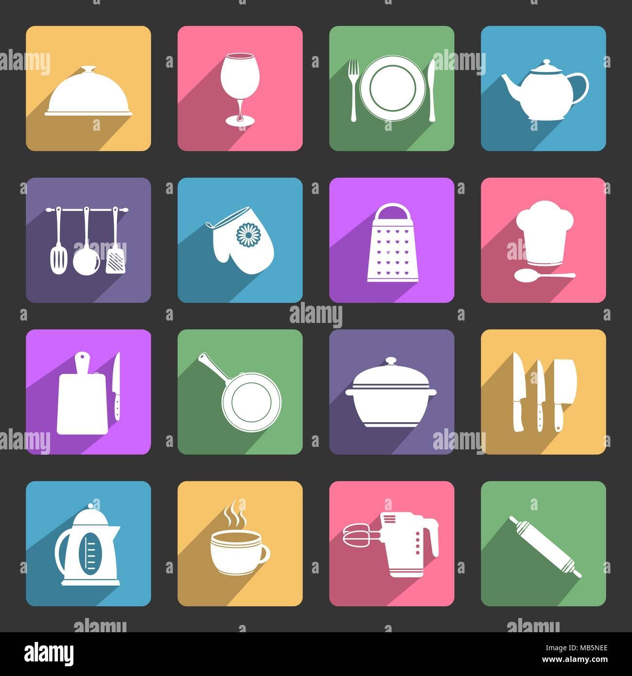 Kitchen utensils vector flat icons set - Stock Vector