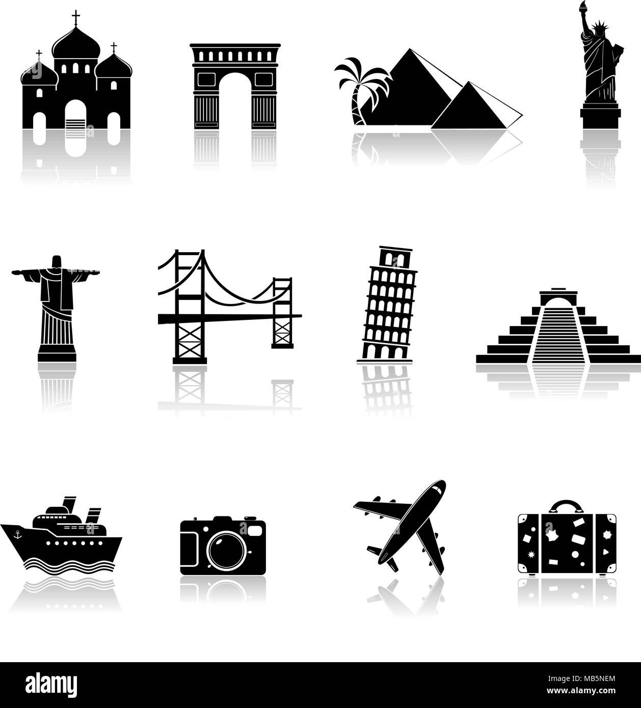 Travel and landmarks icons - Stock Image