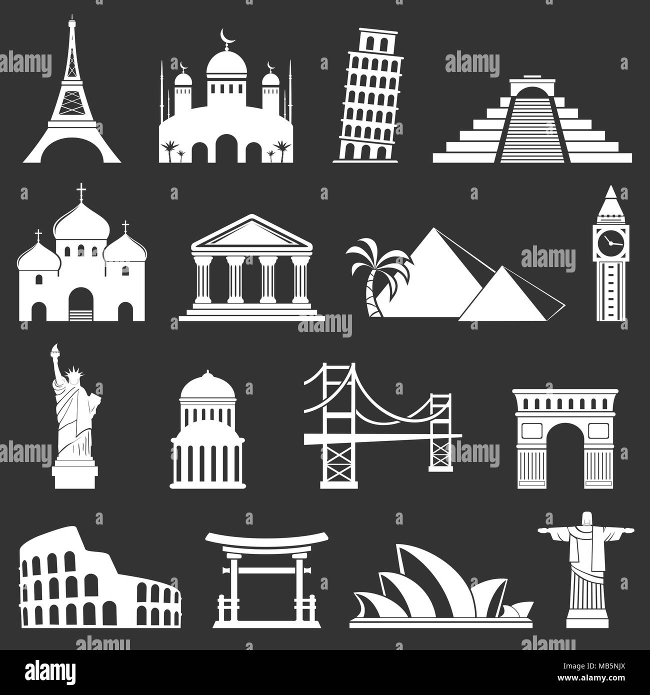 Famous international landmarks icons. Vector set Stock Vector