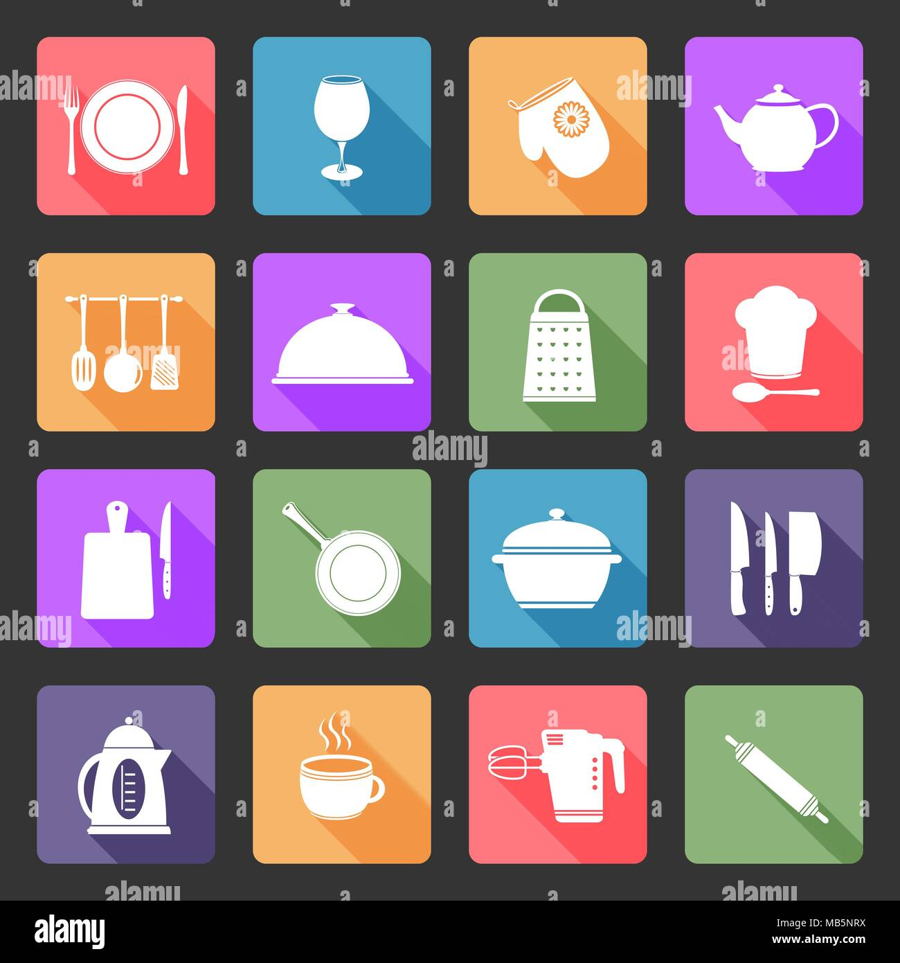 Kitchen utensils icons- flat design vector - Stock Vector