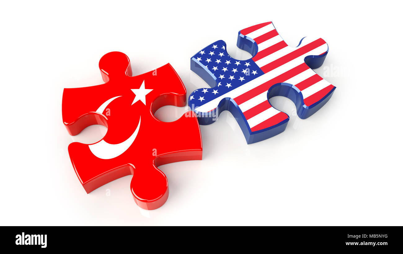 USA and Turkey flags on puzzle pieces. Political relationship concept. 3D rendering - Stock Image
