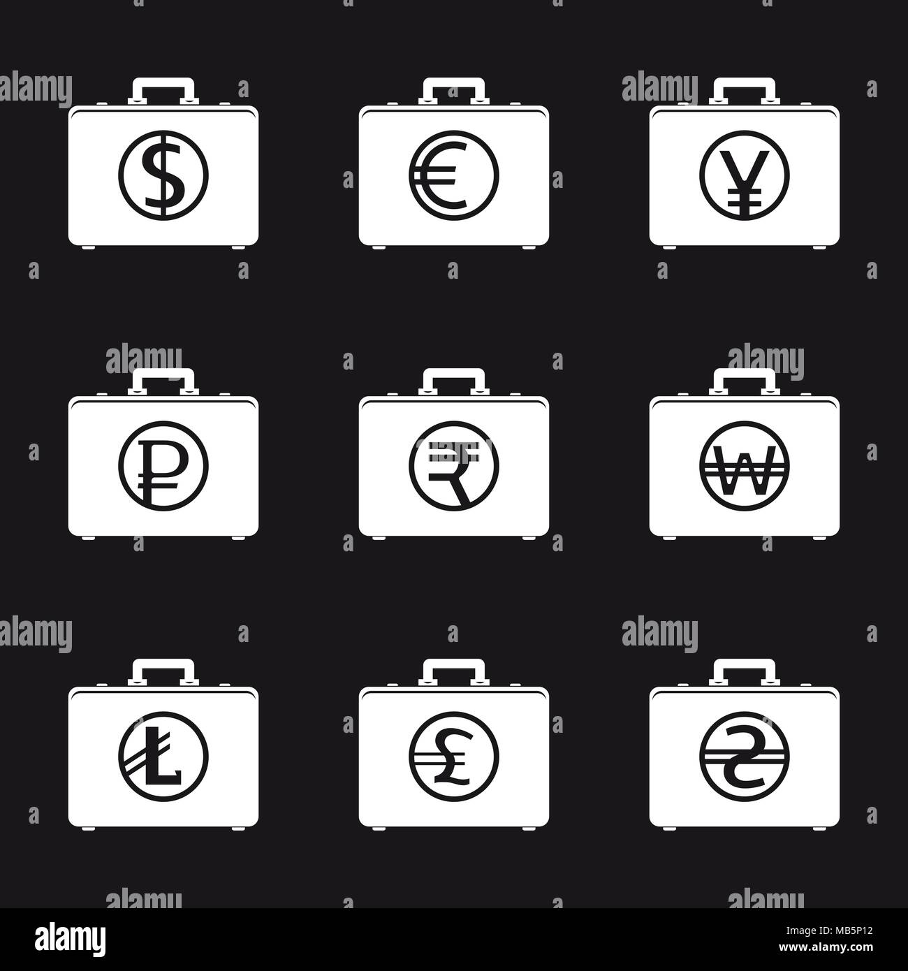 Set Of Money Bags With Currency Symbols Stock Vector Art