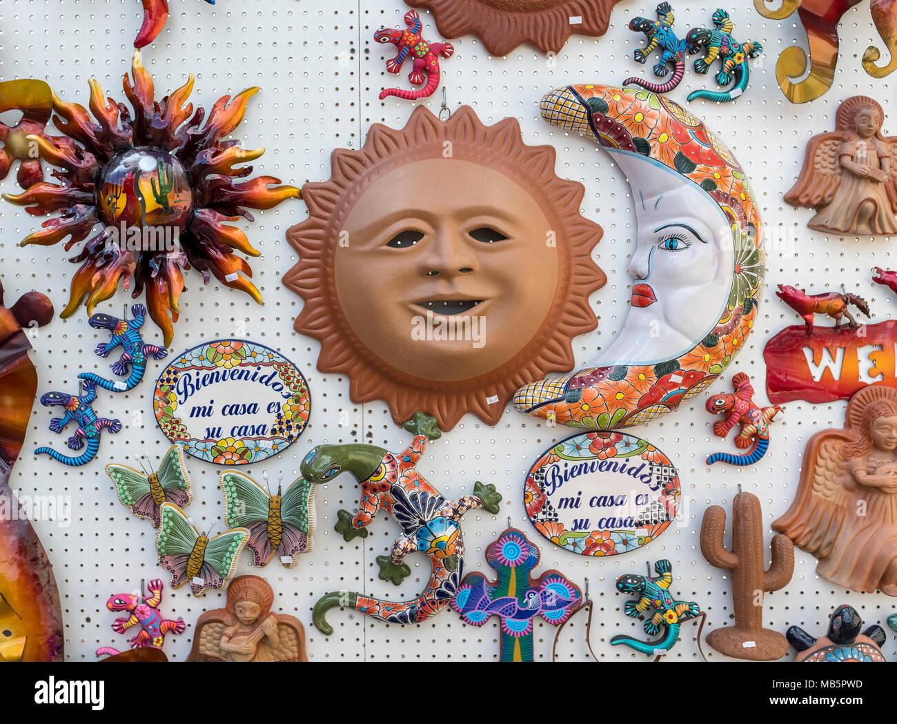 decorative ceramic wall art sun faces moon faces iguanas frogs u0026 butterflies  sc 1 st  Alamy & Mexican Sun Pottery Stock Photos u0026 Mexican Sun Pottery Stock Images ...