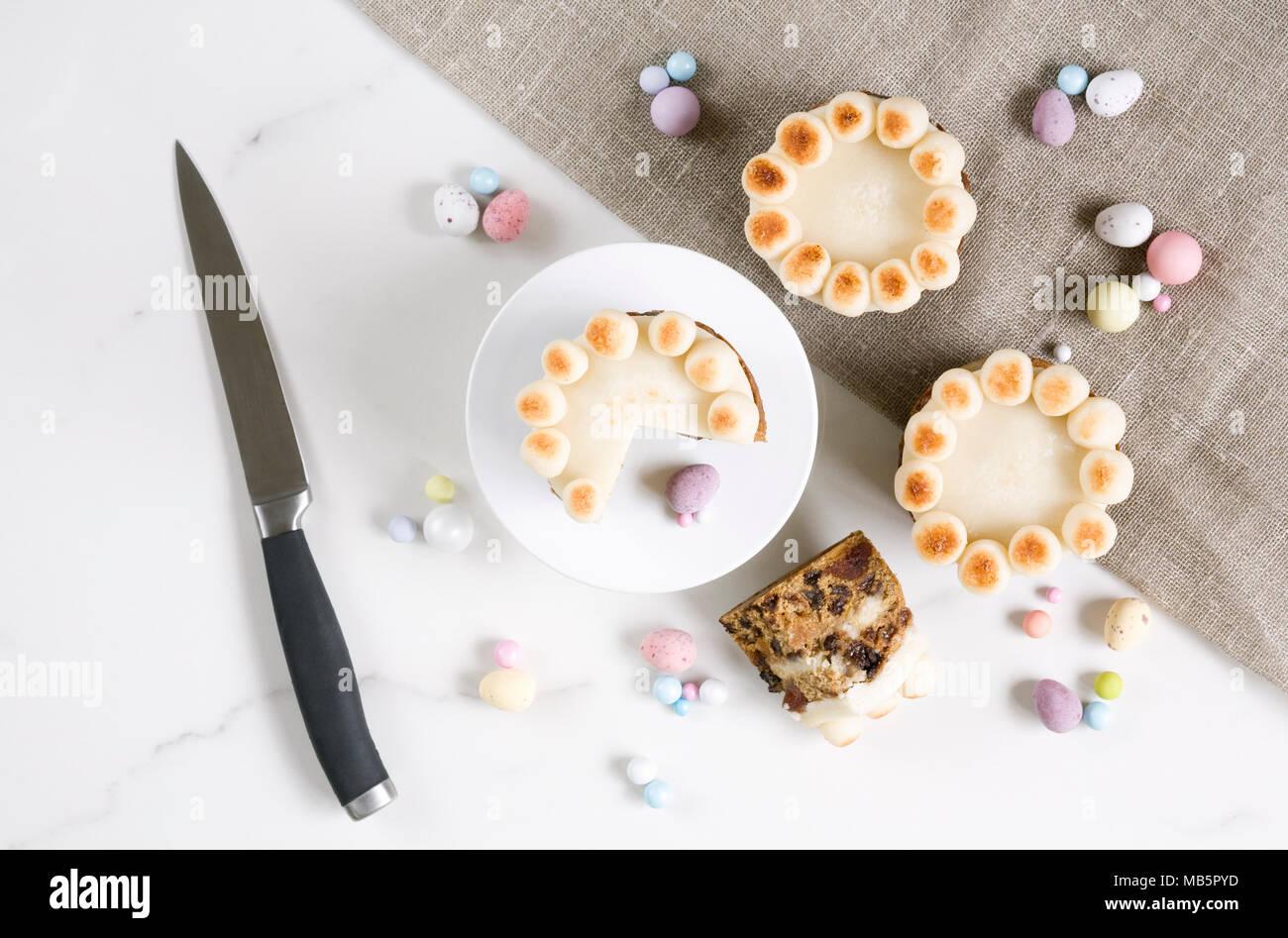 Homebaked mini simnel cakes. - Stock Image