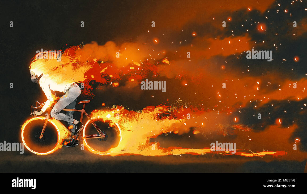Man Riding A Mountain Bike With Burning Fire On Dark Background, Digital  Art Style,