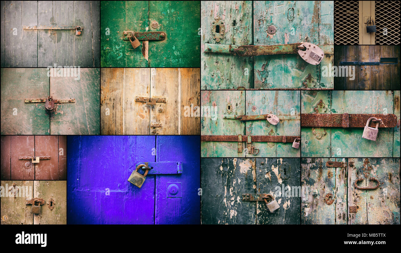 Locked doors with padlocks collage. Closed old rusty padlocks on weathered wooden doors, closeup view Stock Photo