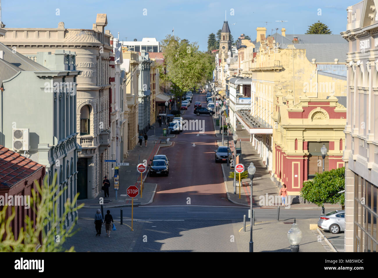 A high angle view of High Street in Fremantle, Western Australia - Stock Image