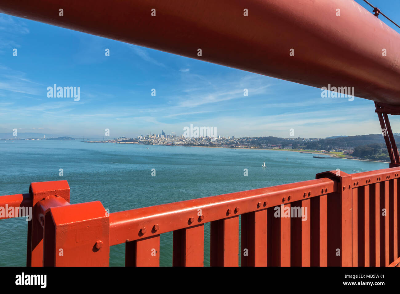 View of the San Francisco City from the Golden Gate Bridge, California, United States. - Stock Image