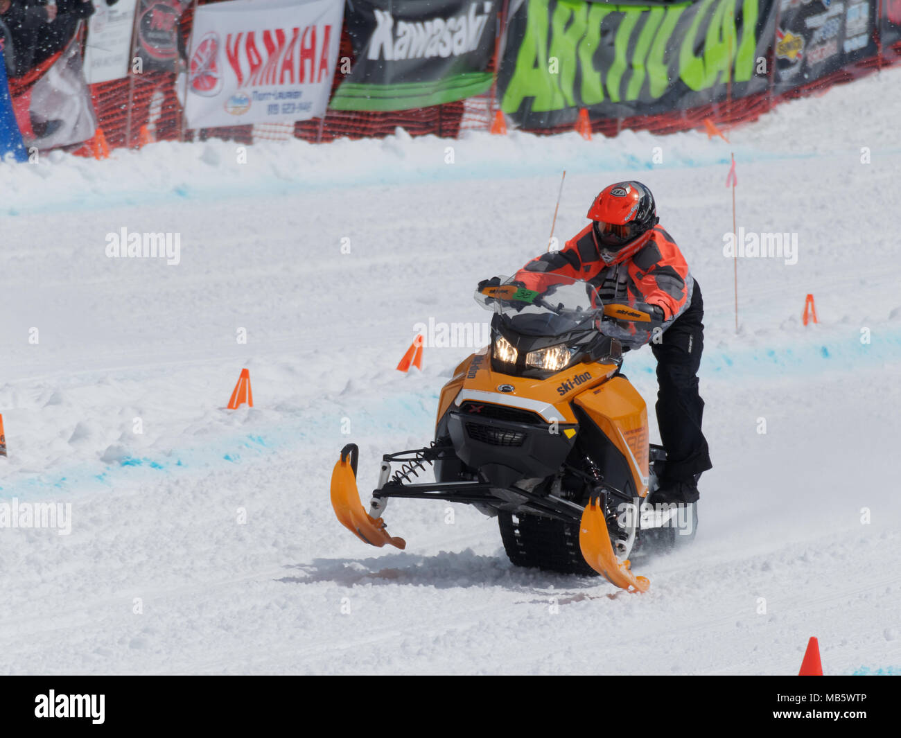 Quebec, Canada 4/7/2018 Snowmobile uphill drag race held on