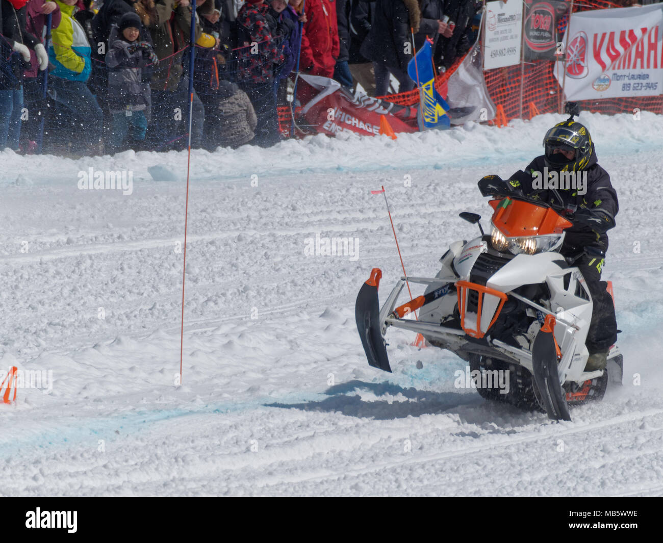 quebec, canada 4/7/2018 snowmobile uphill drag race held on the