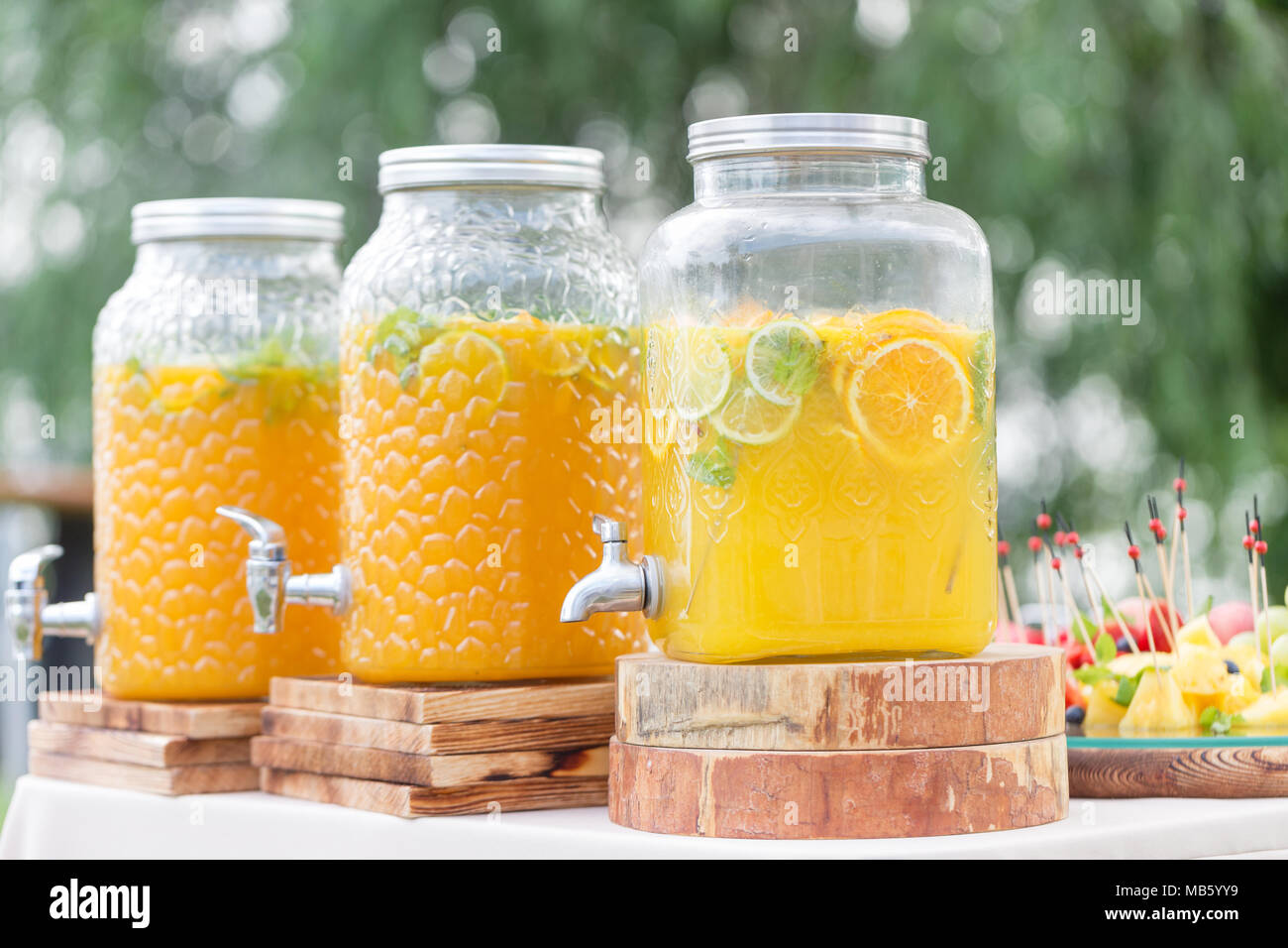Glass bank of lemonade with sliced citrus fruits on a buffet table. Summer party outdoor. Detox. - Stock Image