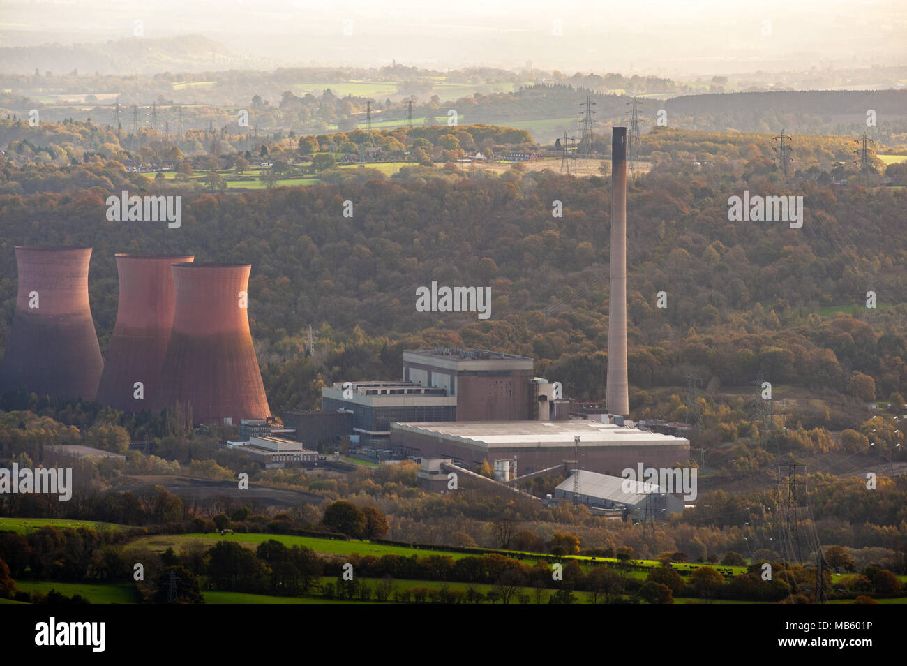 Ironbridge B power station, pink cooling towers, commended for landscaped design in rural setting, now decommissioned and scheduled for demolition. - Stock Image