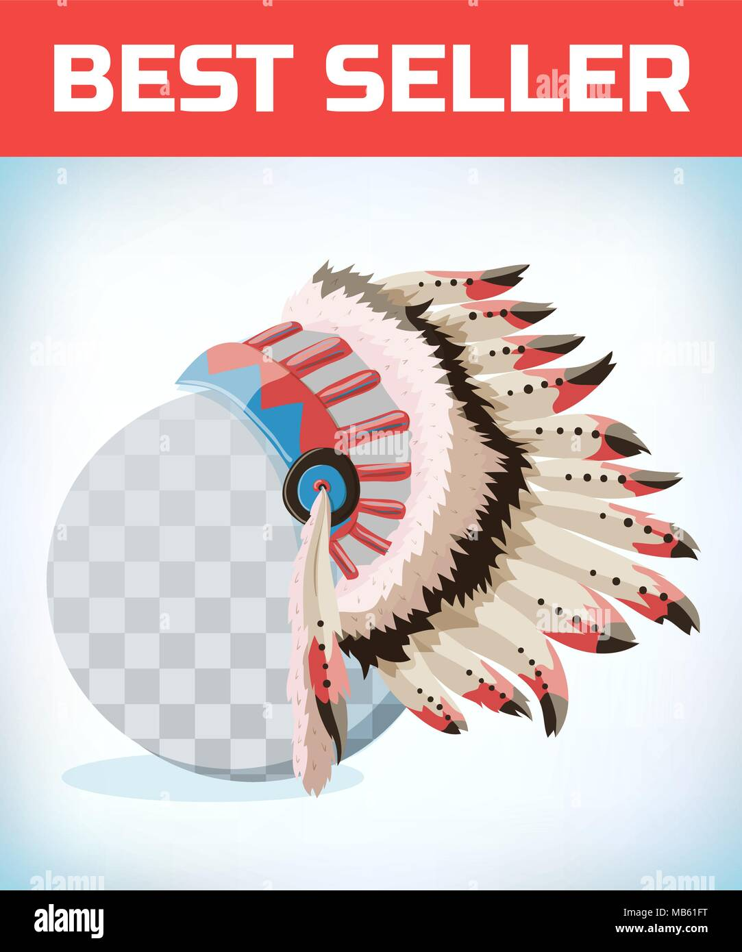 Native American Indians Headdress. Tribal Chief Feather Hat. Masquerade costume headdress. Carnival or Halloween mask. Cartoon Vector illustration. - Stock Image