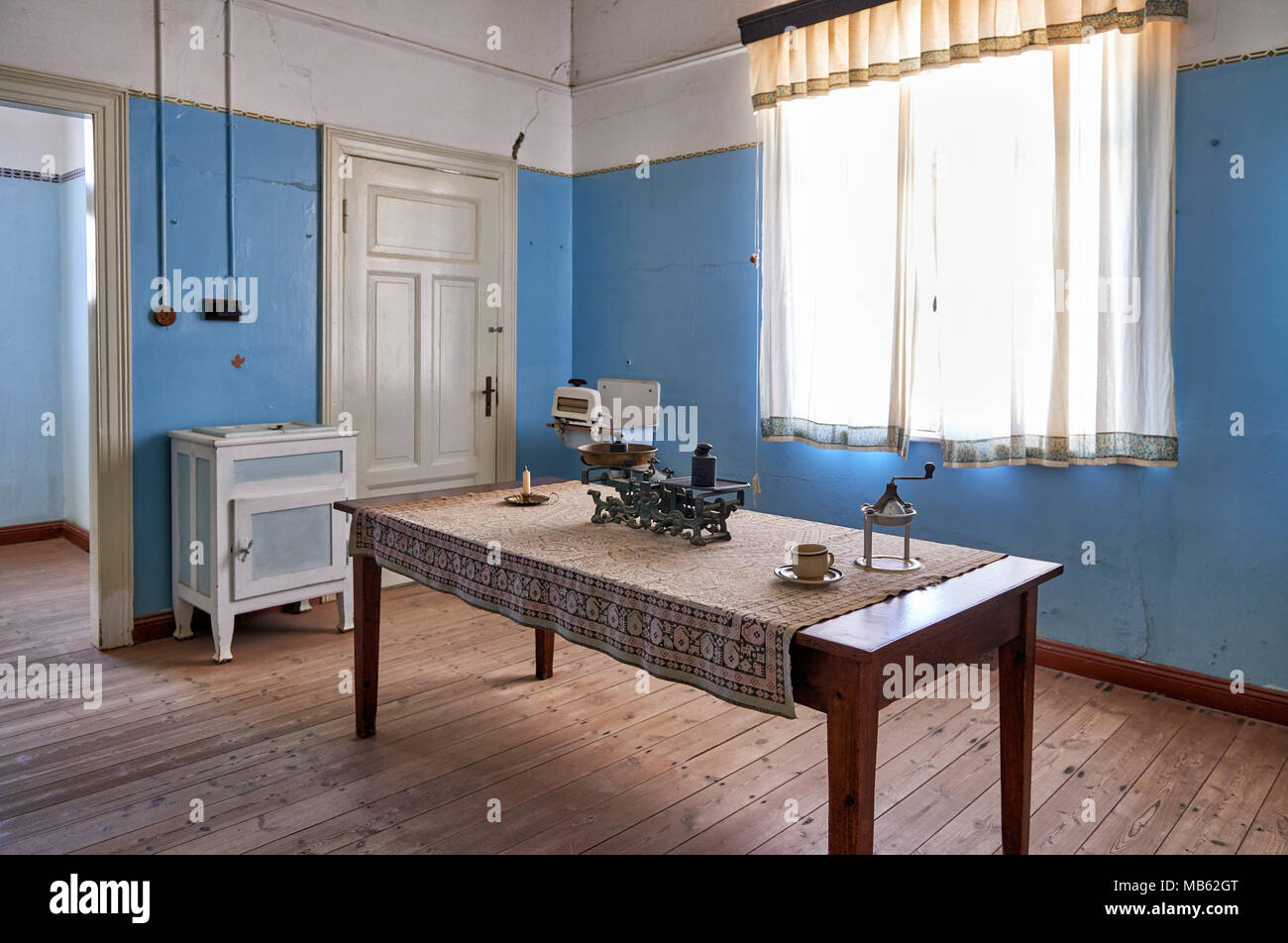 kitchen in Kolmanskop ghost town, Luderitz, Namibia, Africa - Stock Image