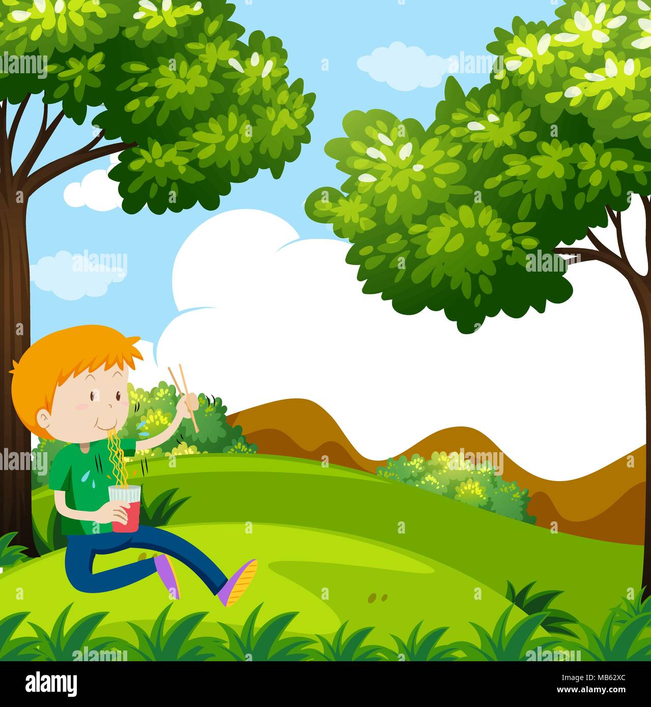 Boy eating noodles in the park illustration - Stock Vector