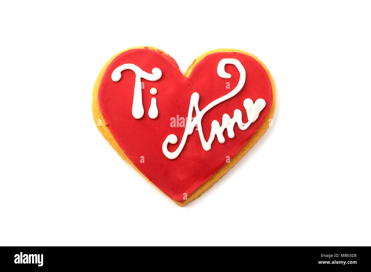 'Ti amo' (i love you) cookie on a white background - Stock Image