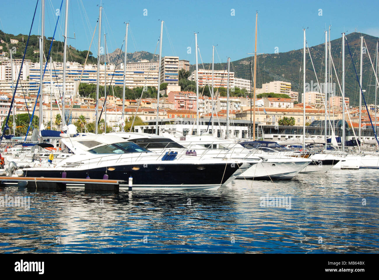 Scenic view of boats and yachts in the marina of Ajaccio, Corsica - Stock Image